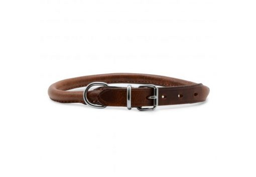 Ancol Round Sewn Leather Collar - Chestnut