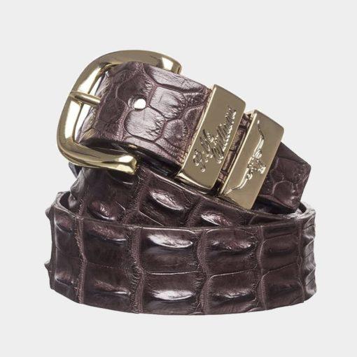 "R.M Williams  1 1/2"" Crocodile Belt - Chestnut"