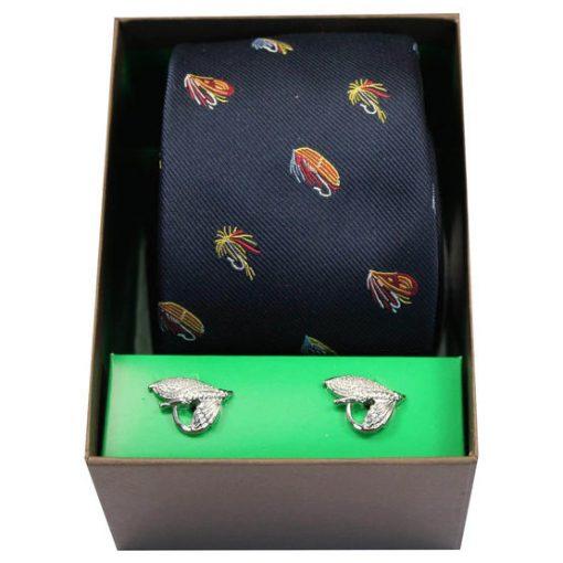 Soprano Fishing Themed Tie & Cufflink Box Set