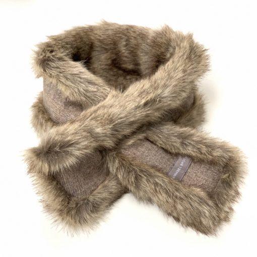 Annabel Brocks Faux Fur Neck Warmer - Green Tweed