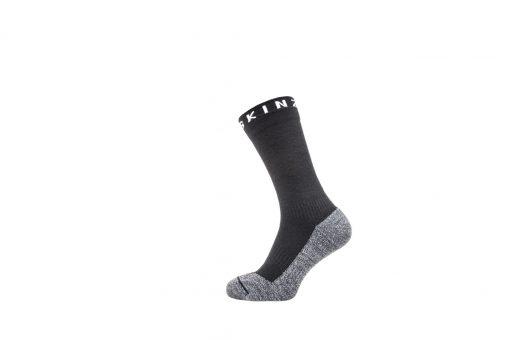Sealskinz Soft Touch Mid Length Sock - Black/Grey/White