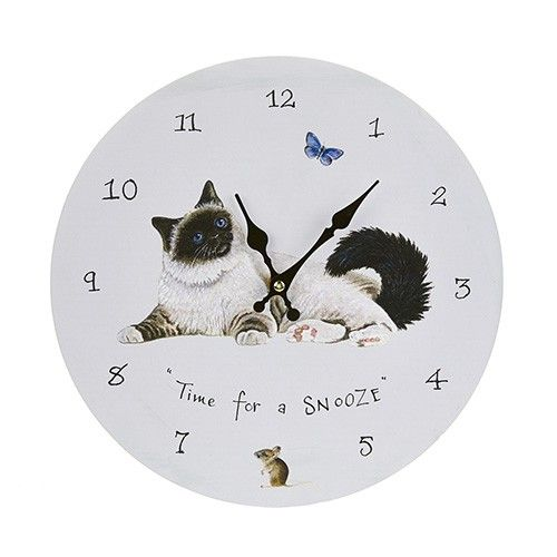 At Home In the Country Wall clock - Persian Cat Snoozing