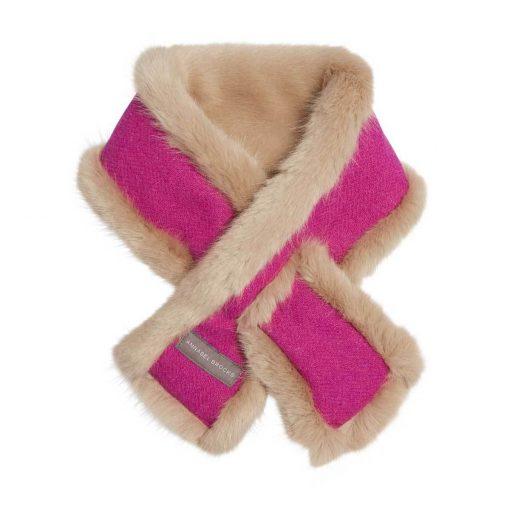 Annabel Brocks Faux Fur Neckwarmer - Pink Tweed