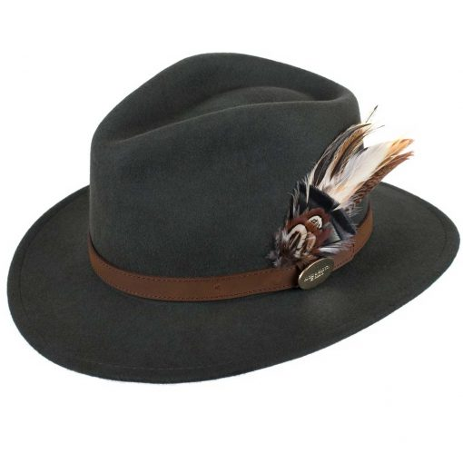 Hicks & Brown Suffolk Fedora Classic Feather - Olive Green