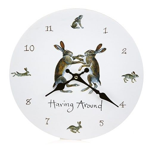 At Home In The Country Wall Clock - Haring around