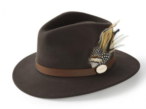 Hicks & Brown Suffolk Fedora Guinea & Pheasant Feather - Brown