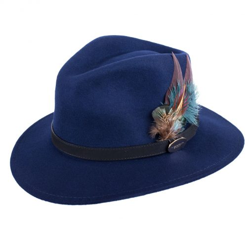 Hicks & Brown Suffolk Fedora Classic Feather - Navy