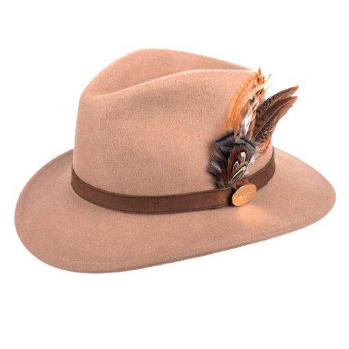 Hicks & Brown Suffolk Fedora Gamebird Feather – Camel
