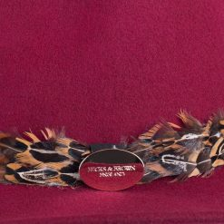 Hicks & Brown Suffolk Fedora Pheasant Feather Wrap - Maroon
