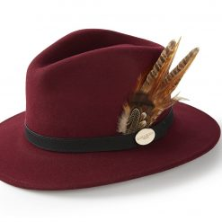 Hicks & Brown Suffolk Fedora Gamebird Feather – Maroon