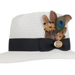Hicks & Brown Aldeburgh Peacock Fedora - White