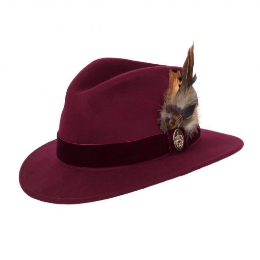 Chelsworth Fedora - Maroon (Coque & Pheasant Feather)