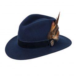 Hicks & Brown Chelsworth Fedora - Navy (Coque & Pheasant Feather)