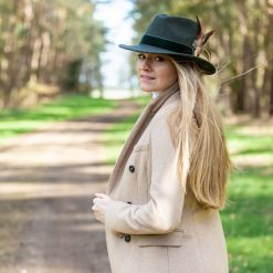 Chelsworth Fedora - Olive Green (Coque & Pheasant Feather)