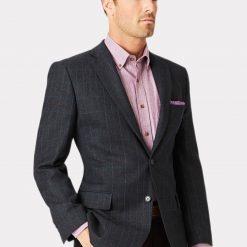 Camberley 100% Wool Check Jacket - Navy