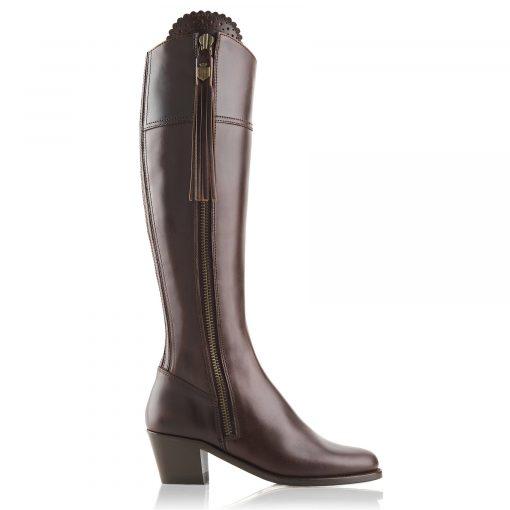 Fairfax & Favor The Heeled Regina Leather Boot - Mahogany