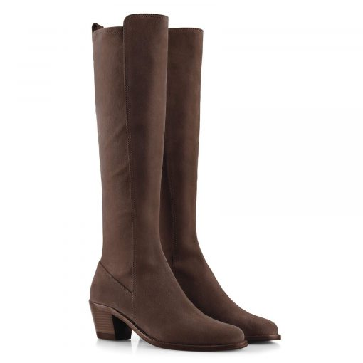 Fairfax & Favor Belgravia Knee High Suede Stretch Boot - Chocolate