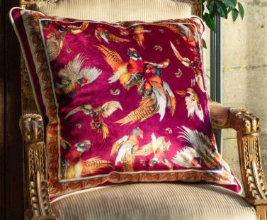 Clare Haggas Turf War Single Sided Cushion - Mulberry