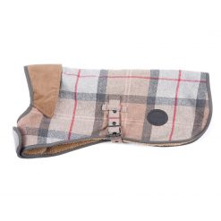 Barbour Wool Touch Dog Coat - Taupe / Pink Tartan