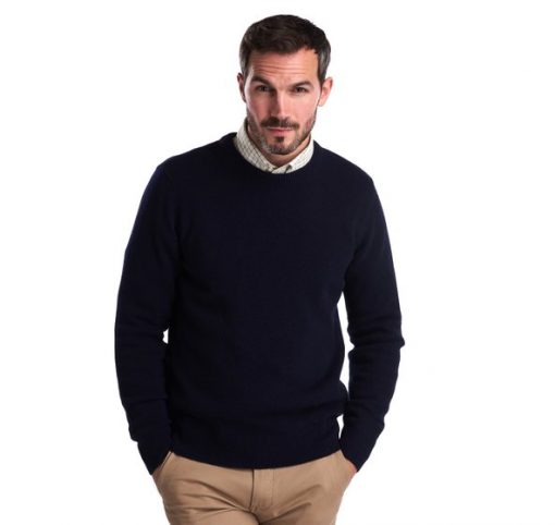Barbour Essential Lambswool Crew Neck - Navy
