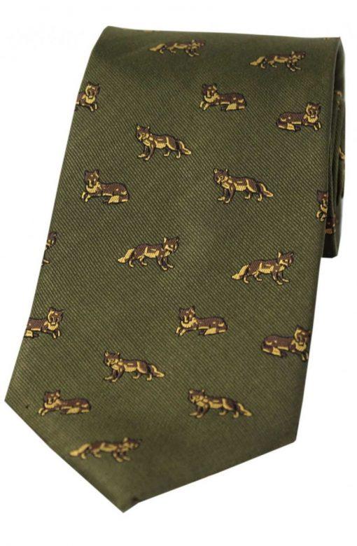 Soprano Foxes Silk Tie - Green