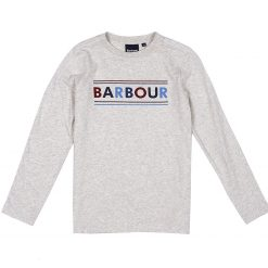 Barbour Boys L/S Logo Tee - Ecru Marl