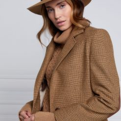 Holland Cooper Trilby Hat Iridescent Feather Band - Camel