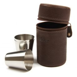 Barbour Tartan Hip Flask and Cups Gift Set - Classic