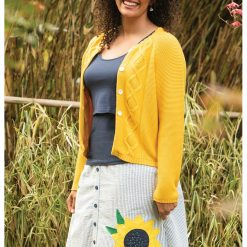 Frugi Clover Cable Knit Cardigan - Bumble Bee