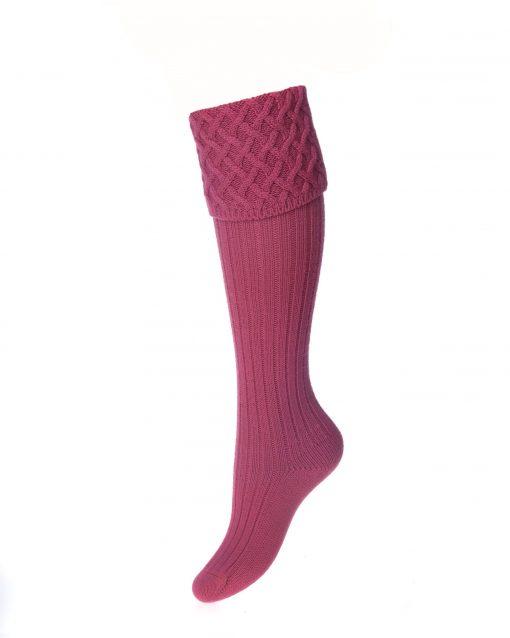 House of Cheviot Lady Rannoch Shooting Socks - Dusky Pink