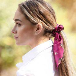 Clare Haggas Game Bird Silk Hair Scrunchie - Mulberry (Medium)