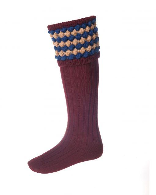 House of Cheviot Angus Shooting Socks - Burgundy