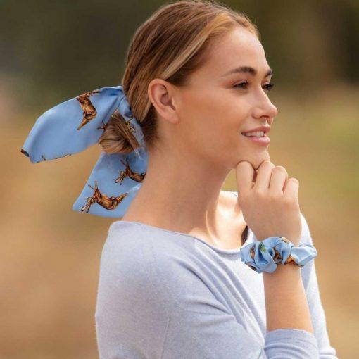 Clare Haggas Hares Silk Hair Scrunchie - Blue (Medium)