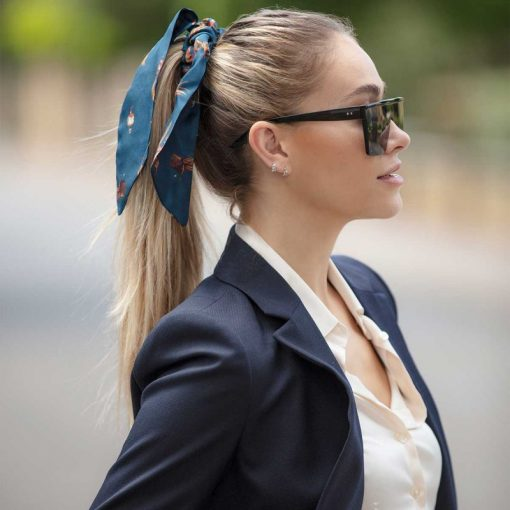 Clare Haggas Game Bird Silk Hair Scrunchie - Navy (Medium)