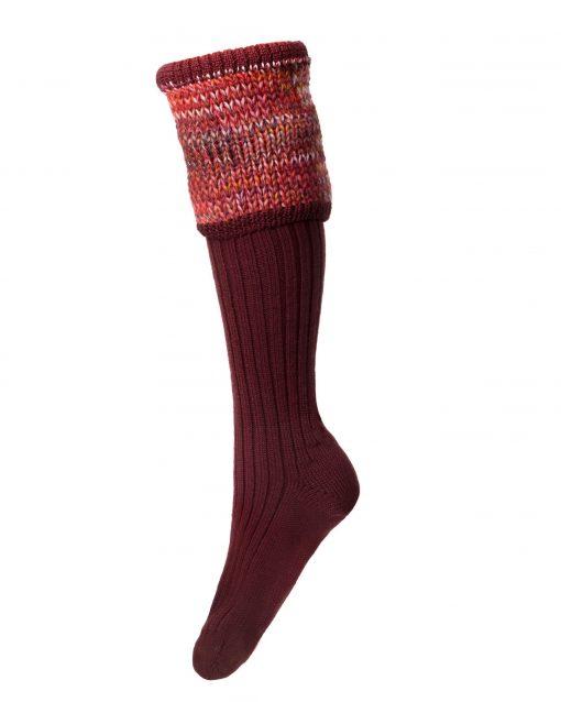 House of Cheviot Lady Katrine Shooting Socks - Burgundy