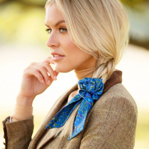 Clare Haggas Peacock Silk Hair Scrunchie - Peacock (Medium)