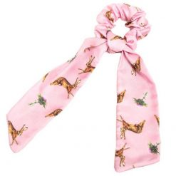 Clare Haggas Hares Silk Hair Scrunchie - Pink (Long)