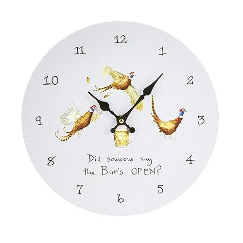 At Home In The Country Wall Clock - Did Someone Say The Bar's Open?