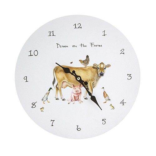 At Home In The Country Wall Clock - Down On The Farm