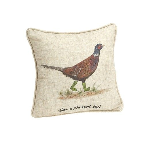 At Home In The Country Cushion - Have A Pheasant Day!
