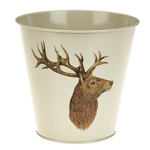 At Home In The Country Tin Planter - Stag
