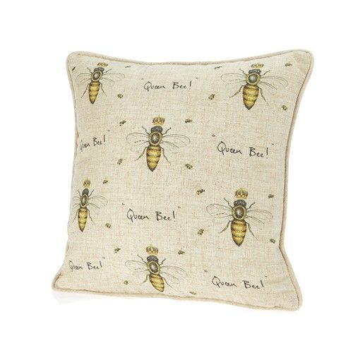 At Home In The Country Cushion - Queen Bee With Crowns