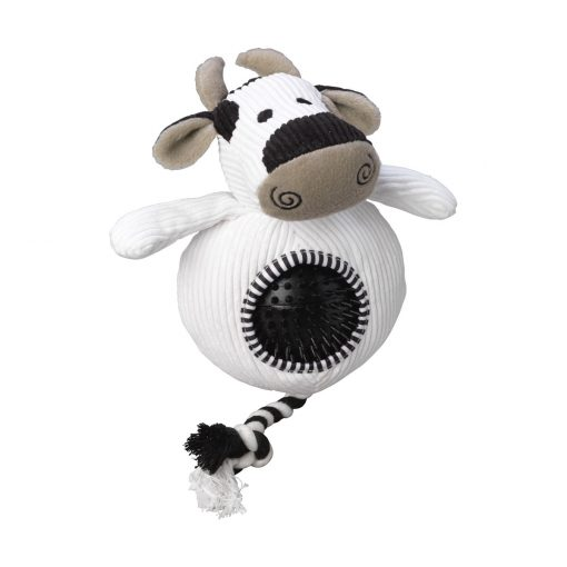 House of Paws Cord Toy with Spiky Ball - Cow