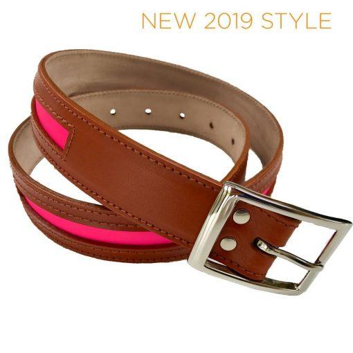 Annabel Brocks Contrast Belt - Tan / Pink