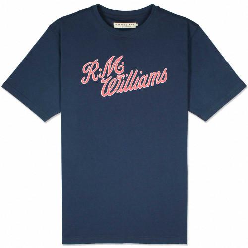 R.M Williams Script T-Shirt - Navy / Red