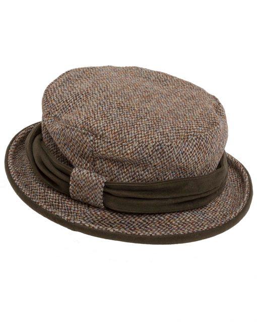 Hoggs of Fife Harris Tweed Ladies Hat - Oatmeal