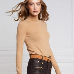 Holland Cooper Buttoned Knit Roll Neck - Dark Camel