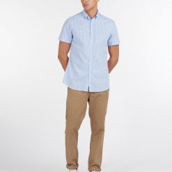 Barbour Gingham 27 Tailored Shirt - Sky Blue