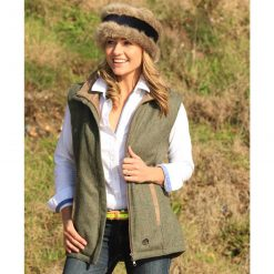 Annabel Brocks Wool Gillet With Removable Faux Fur Collar - Dark Green