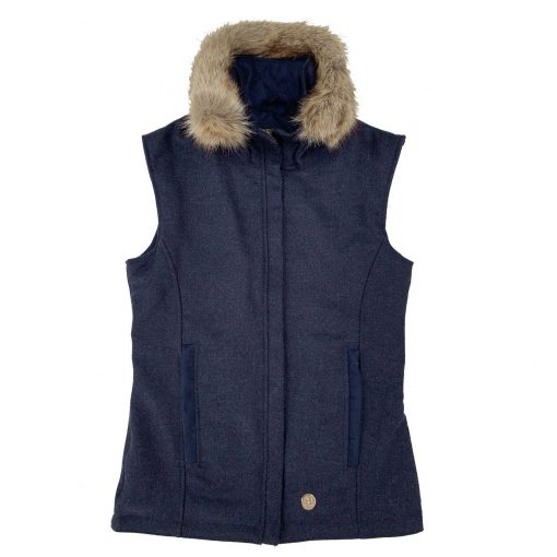Annabel Brocks Wool Gillet With Removable Faux Fur Collar - Navy